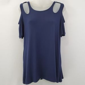 Ava james short sleeve cut out sleeve shirt NWT